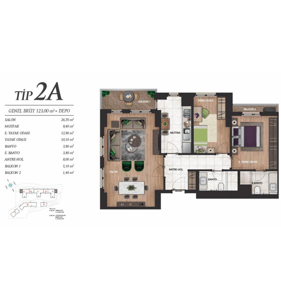 Referans Bahçeşehir 2+1 Kat Planları