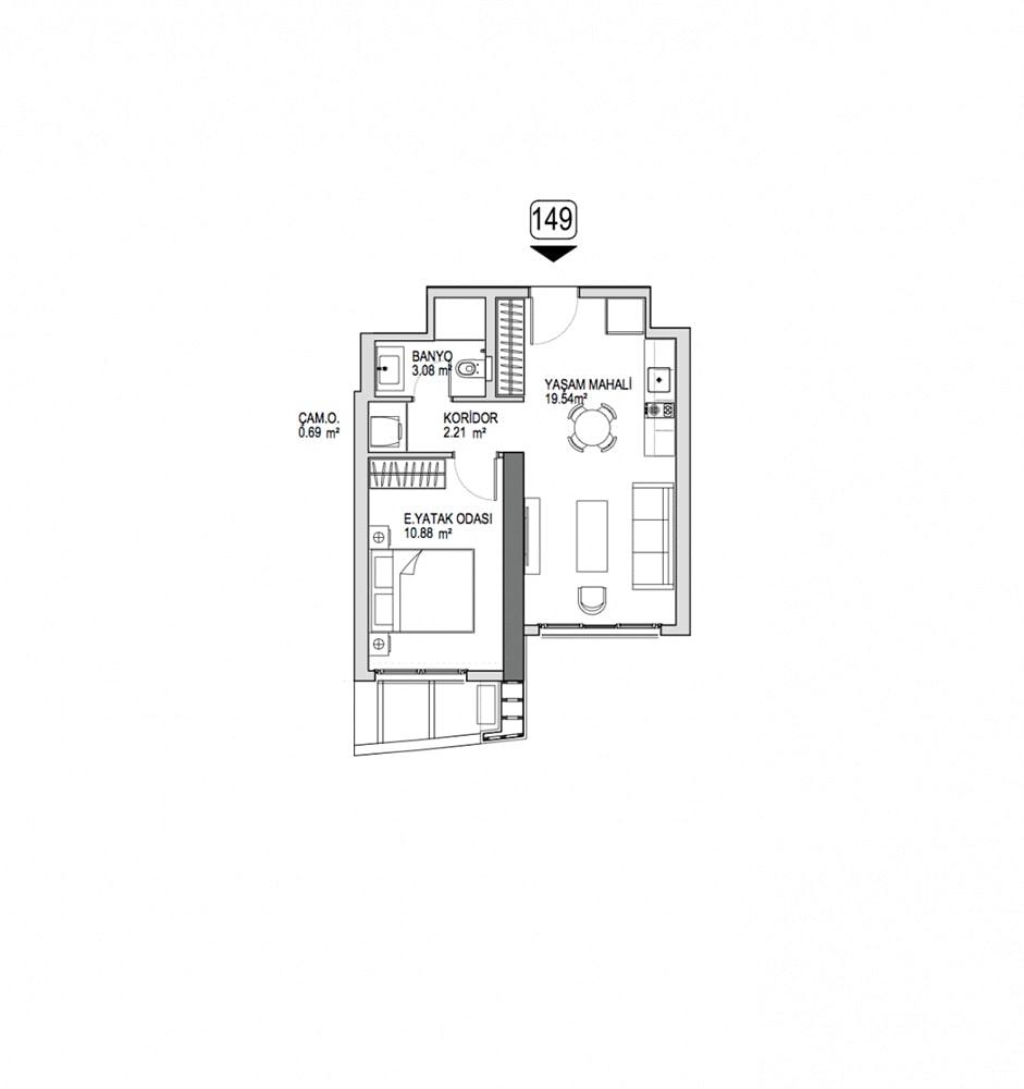 Referans Kartal Towers  1+1  Kat Planları