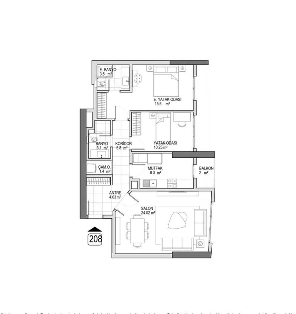 Referans Kartal Towers  2+1 Kat Planları