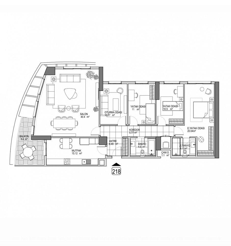 Referans Kartal Towers  4+1 Kat Planları