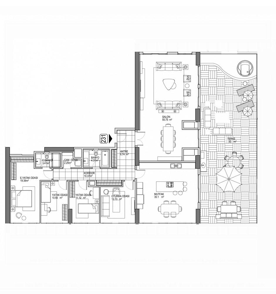 Referans Kartal Towers  4.5+1 Kat Planları