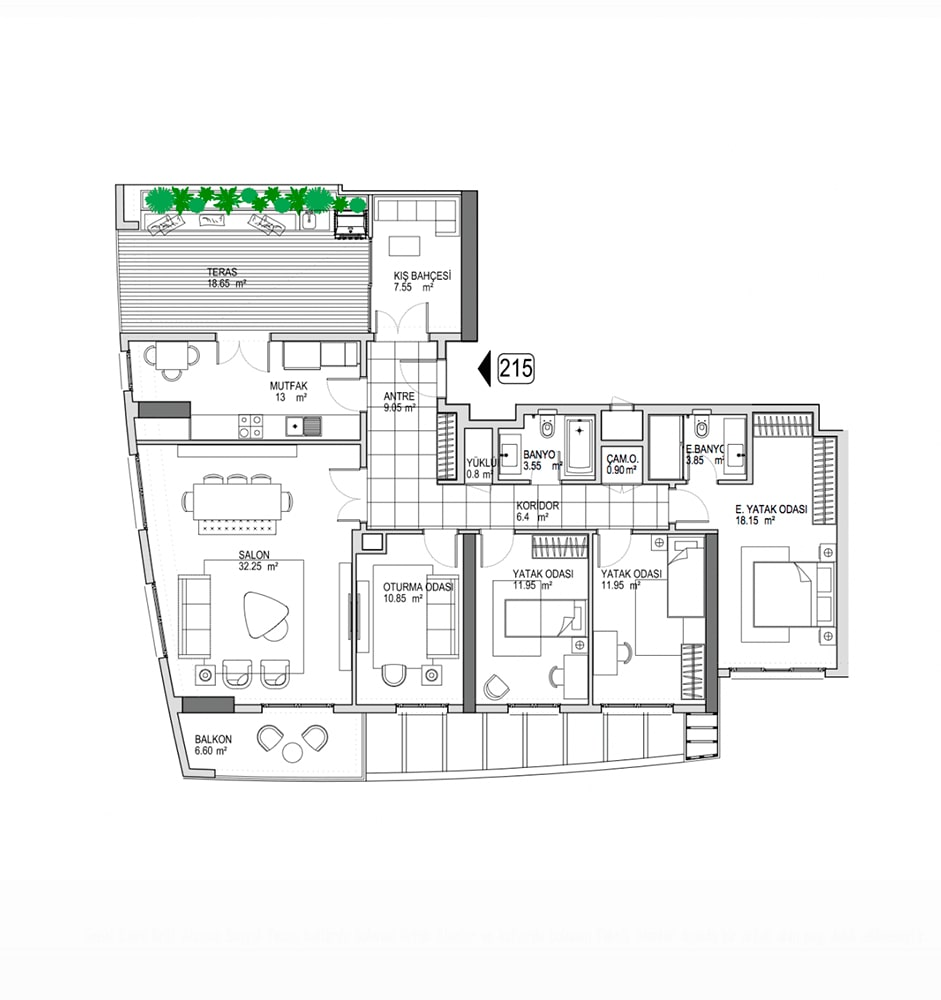 Referans Kartal Towers  5+1 Kat Planları
