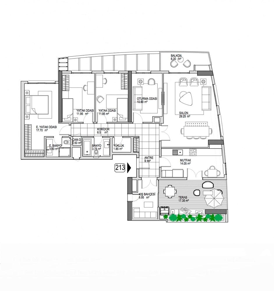 Referans Kartal Towers  5.5+1  Kat Planları