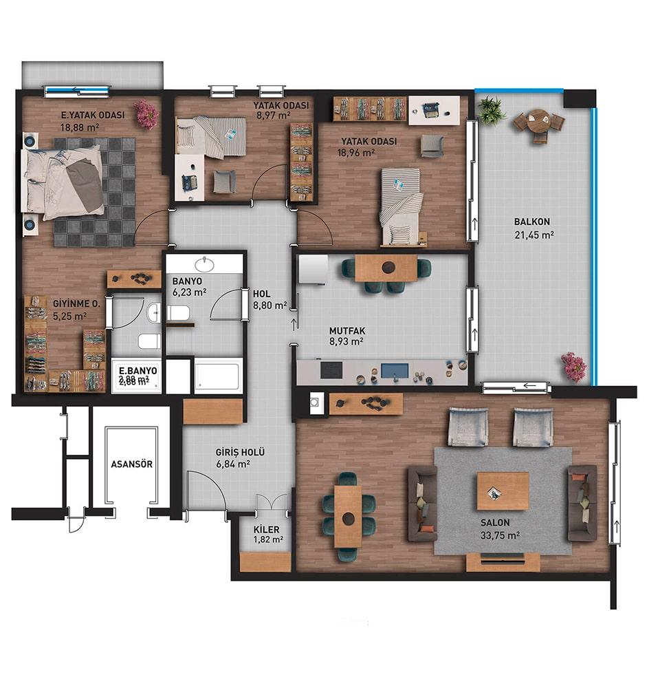 Referans Plus Evleri 3+1 Kat Planları