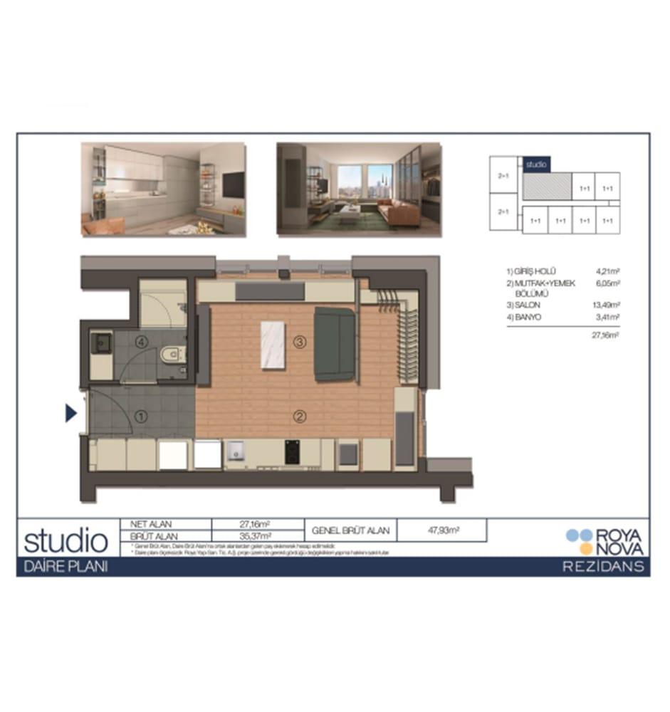 Roya Nova Rezidans 1+0 Kat Planları