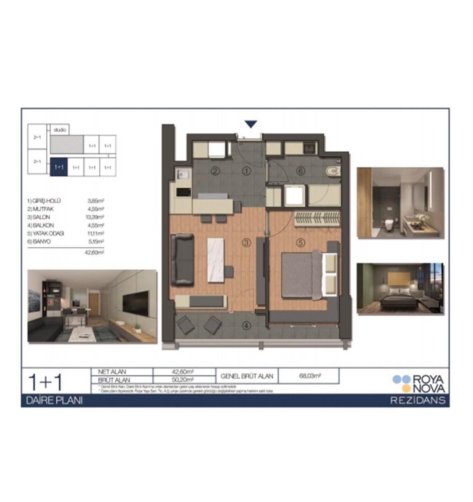 Roya Nova Rezidans 1+1 Kat Planları