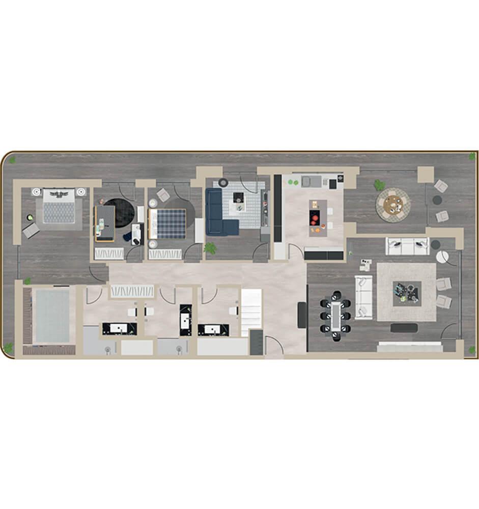 Santra  7+1 Dublex Kat Planları