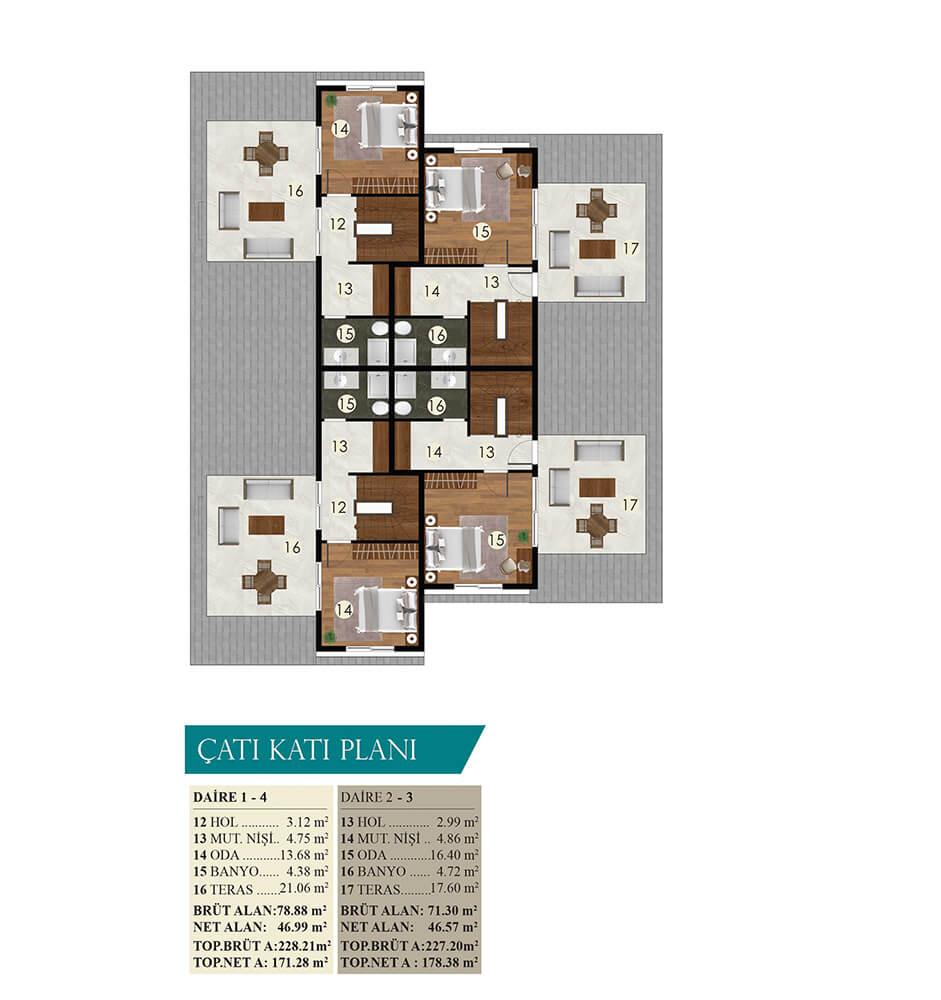 Saygın Stil Yalı Çatı Katı  Kat Planları