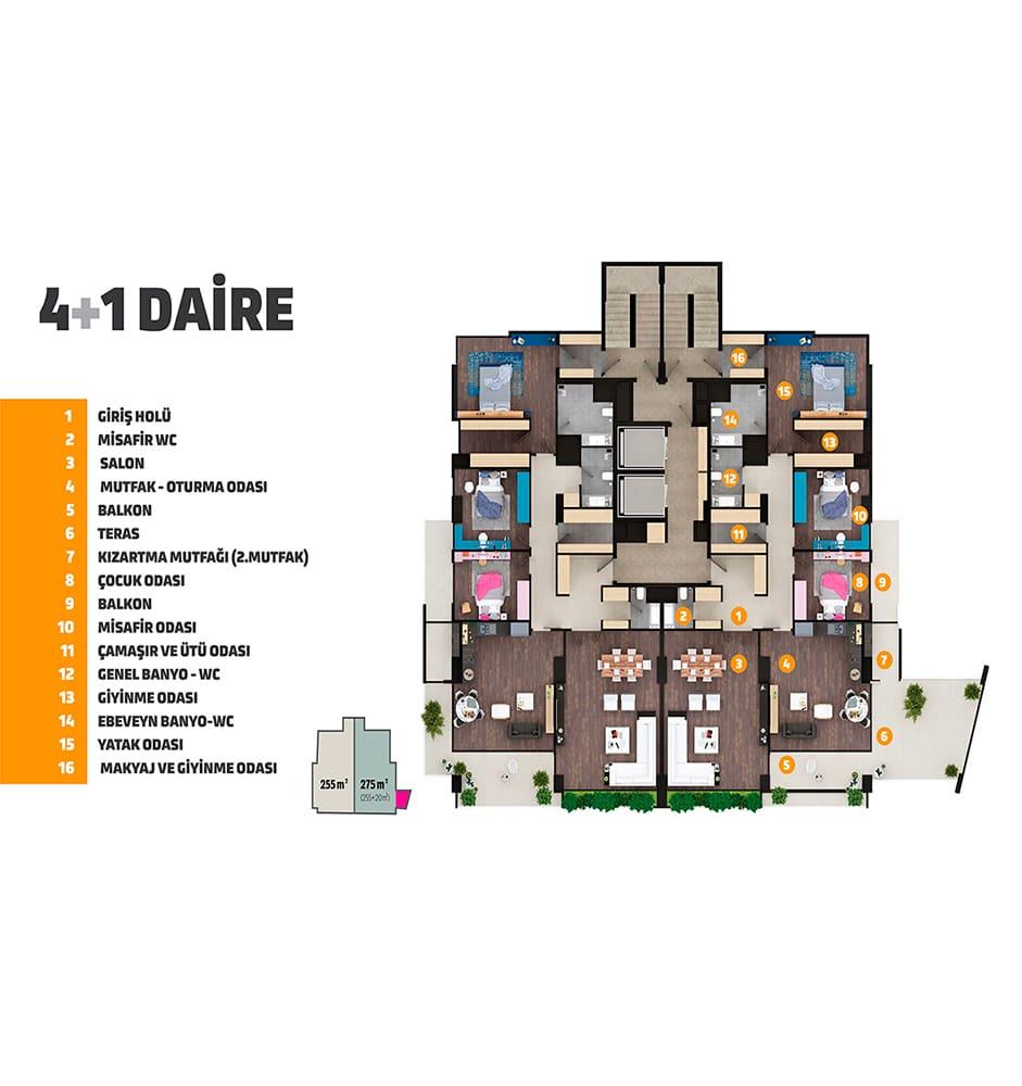 Seyirtepe Tarsus 4+1 Kat Planları