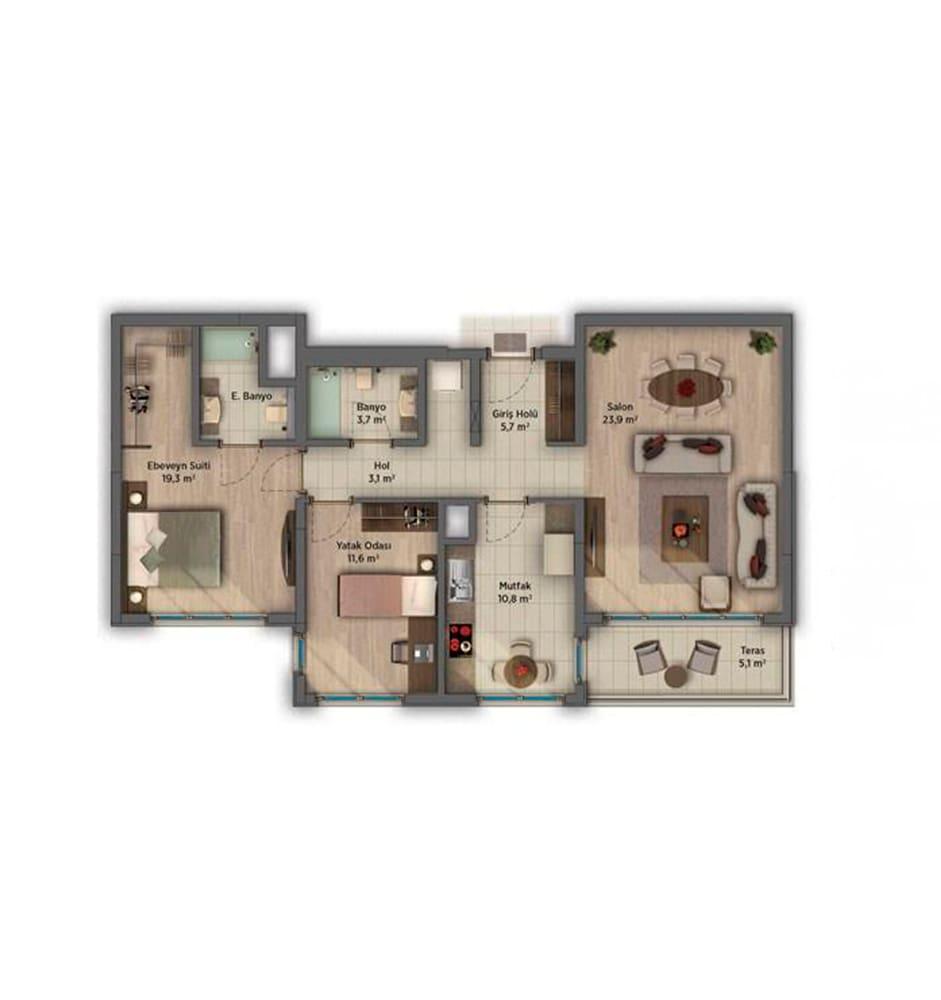 Sinpaş AquaCity Denizli 2+1 Kat Planları