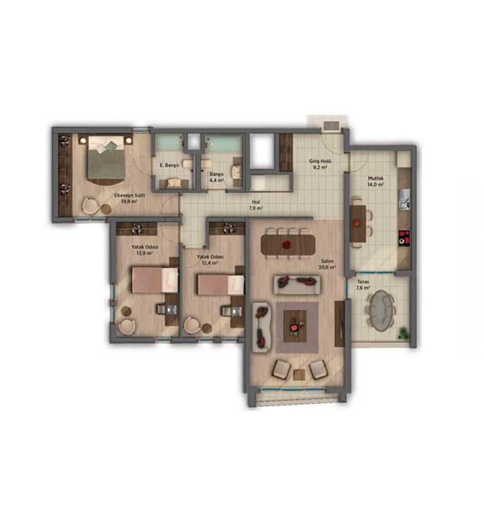 Sinpaş AquaCity Denizli 3+1 Kat Planları