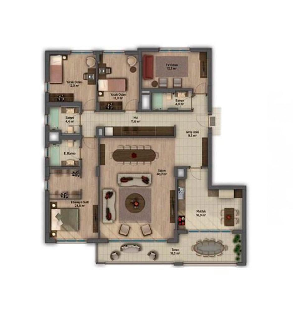 Sinpaş AquaCity Denizli 4+1 Kat Planları