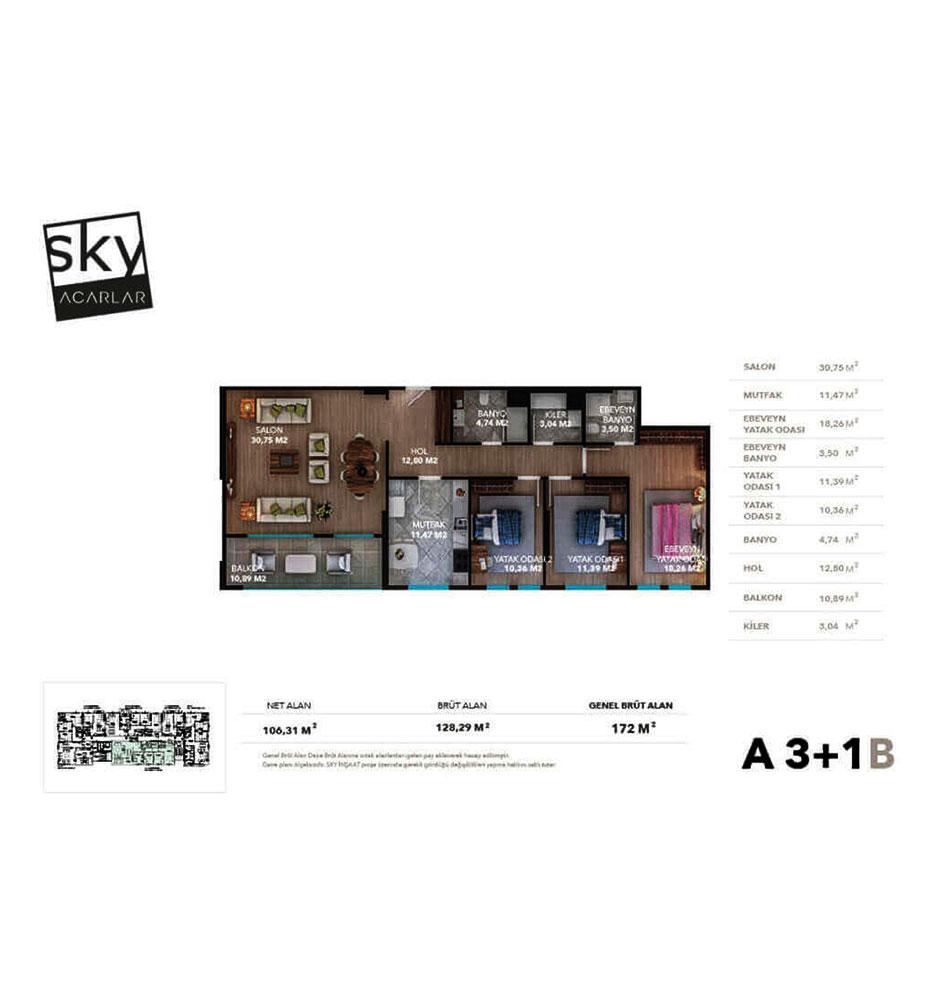Sky Acarlar  3+1 Kat Planları