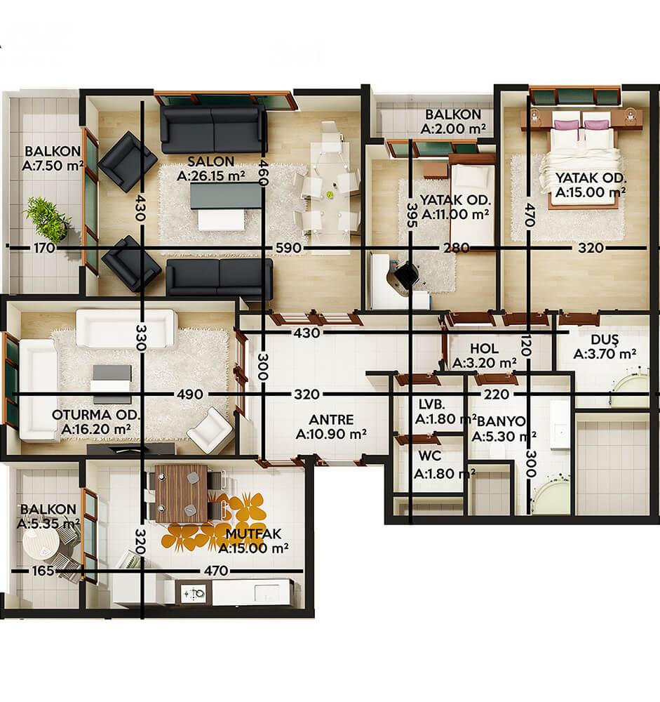 Stage Residence 3+1 Kat Planları