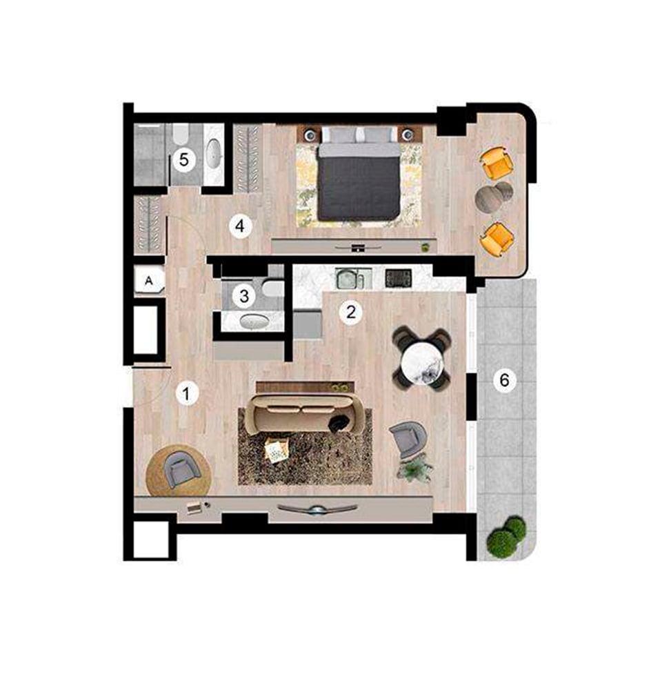 Sunis Blue Residence 1+1  Kat Planları