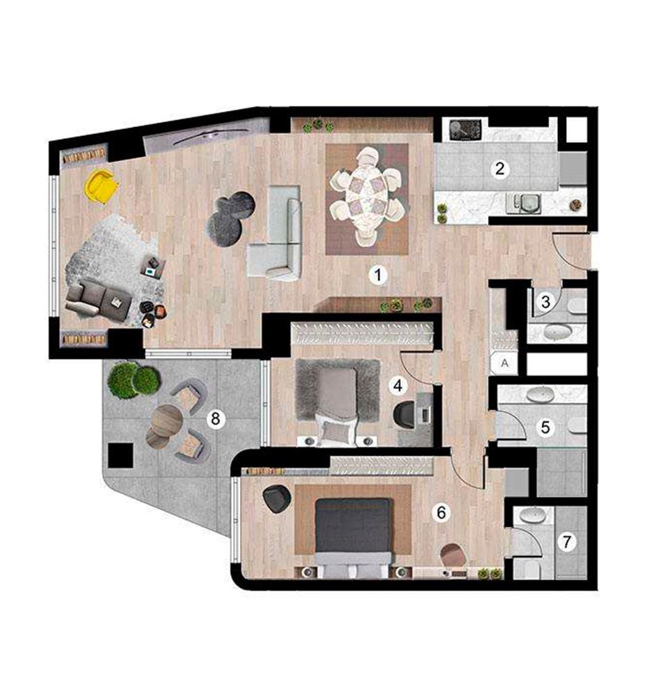 Sunis Blue Residence 2+1 Kat Planları