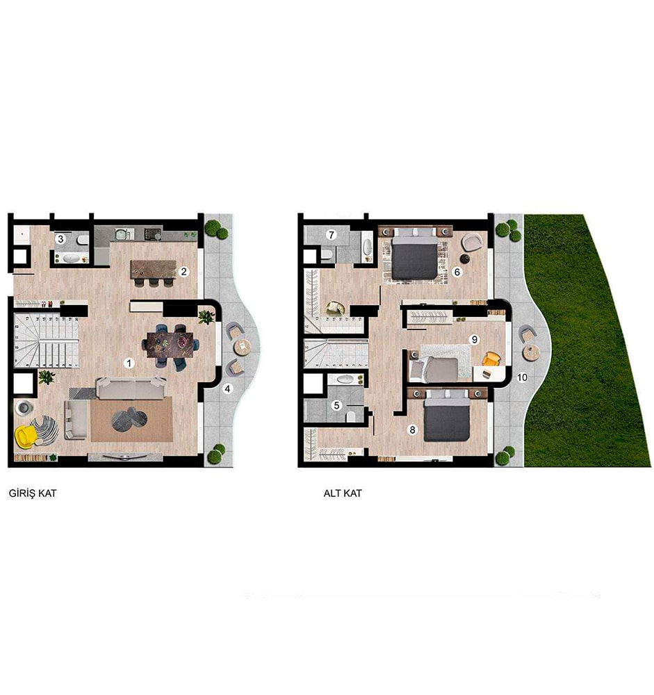 Sunis Blue Residence 3+1 Kat Planları