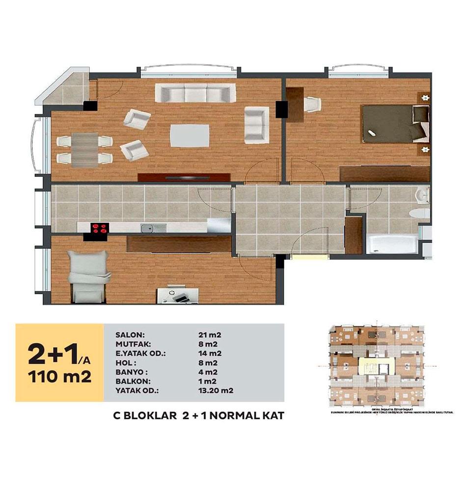 Sunpark Evleri 2+1 Kat Planları