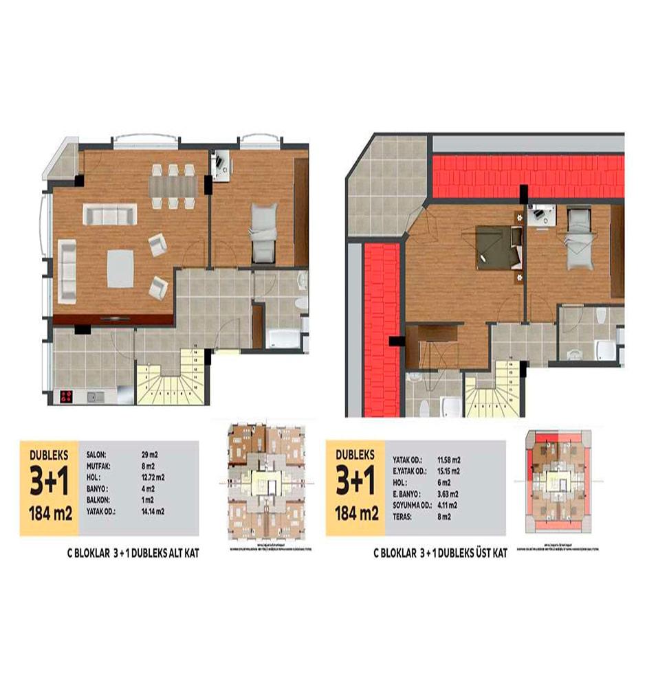 Sunpark Evleri 3+1 Kat Planları