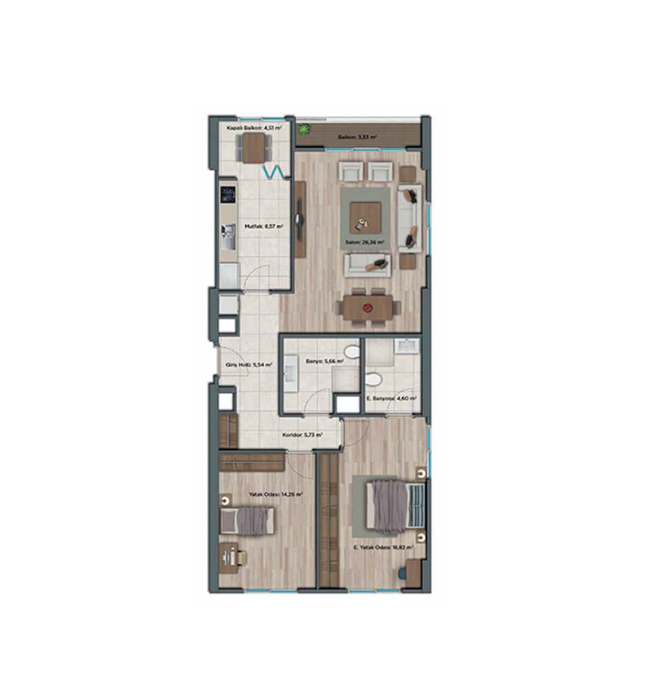 Sur Yapı Muhit Sancaktepe 2+1 Kat Planları