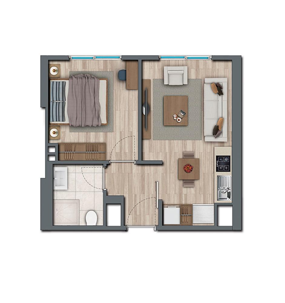 Sur Yapı Topkapı Evleri 1+1 Kat Planları