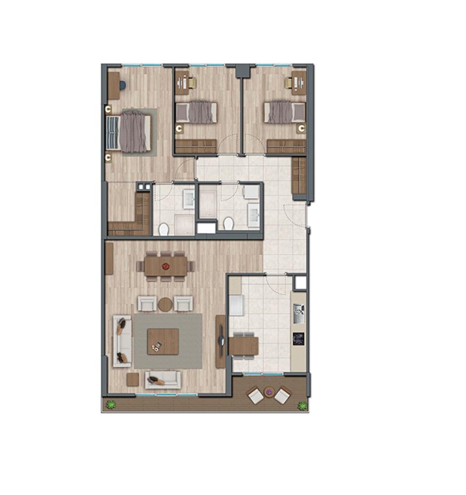Sur Yapı Topkapı Evleri 3+1 Kat Planları
