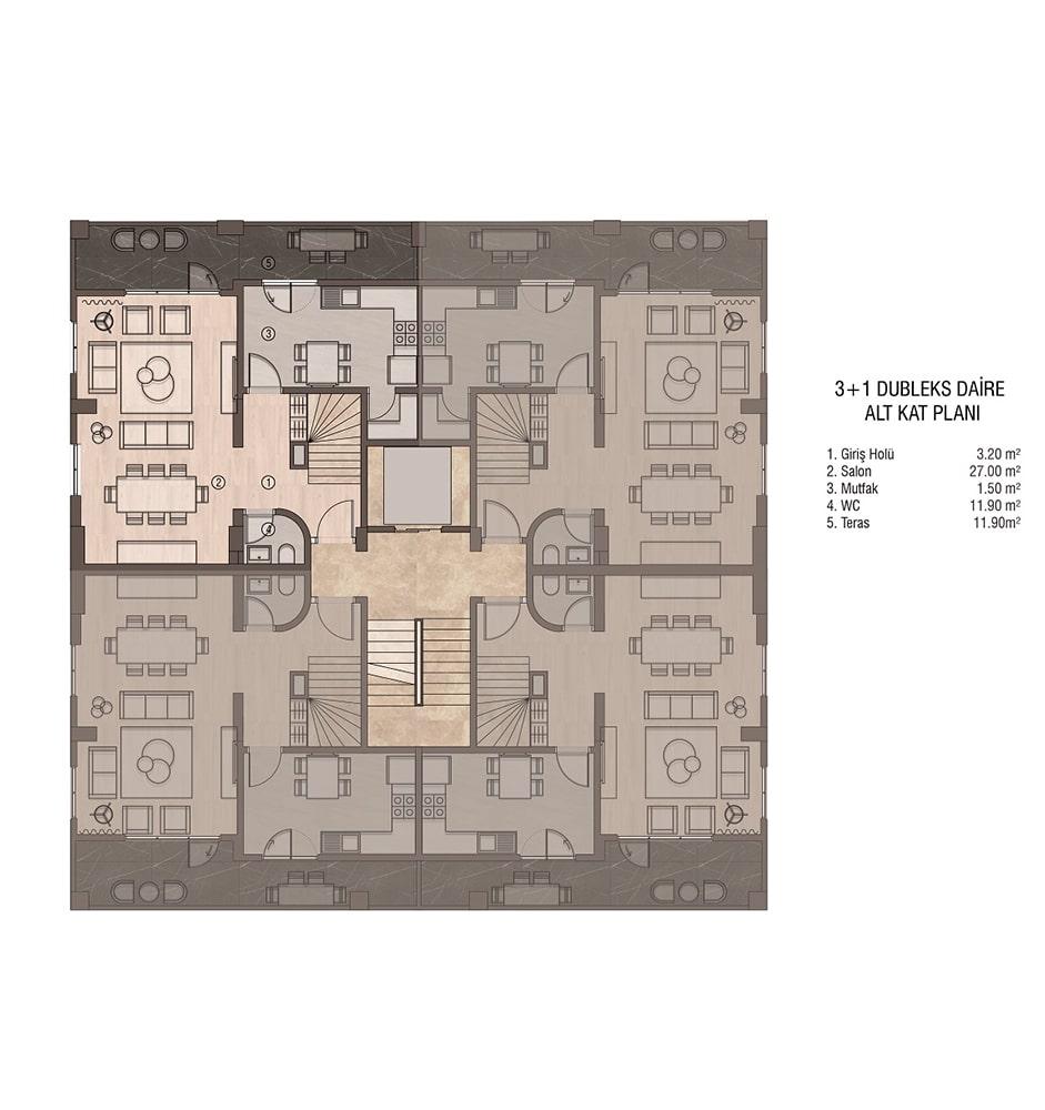 Sydney Garden 3+1 Dublex Giriş Katı Kat Planları