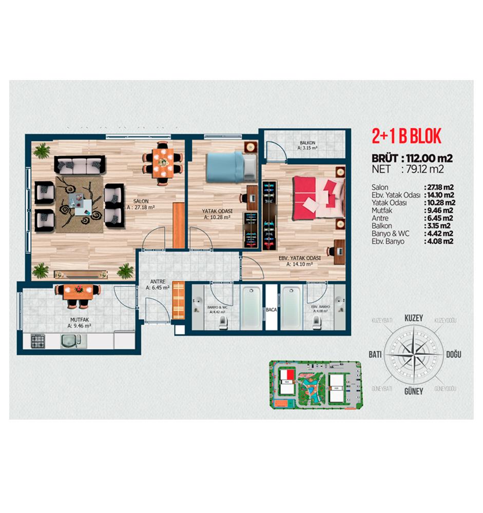 TEM Expres Residence 116 2+1 Kat Planları