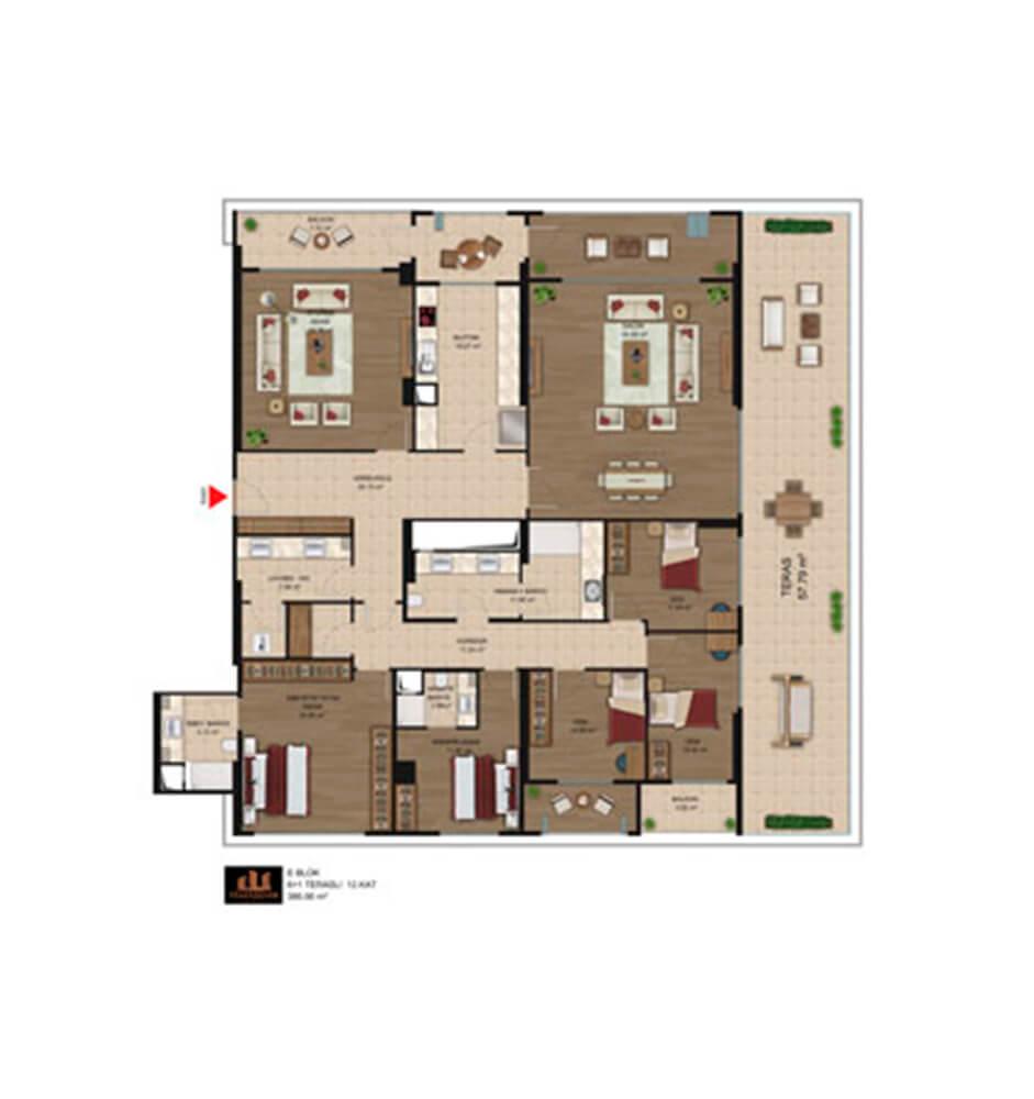Temaşehir Konya  6+1 Kat Planları
