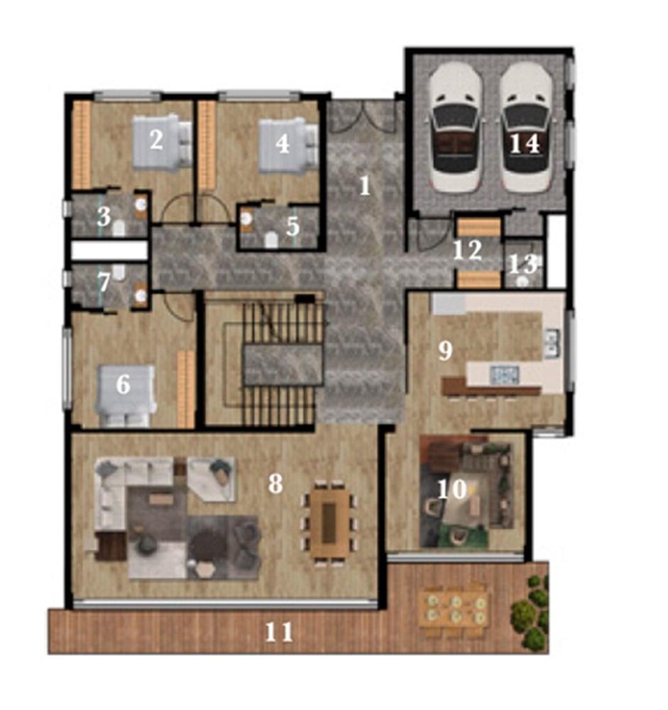 Terrace Mogan Konakları 6+2 Kat Planları