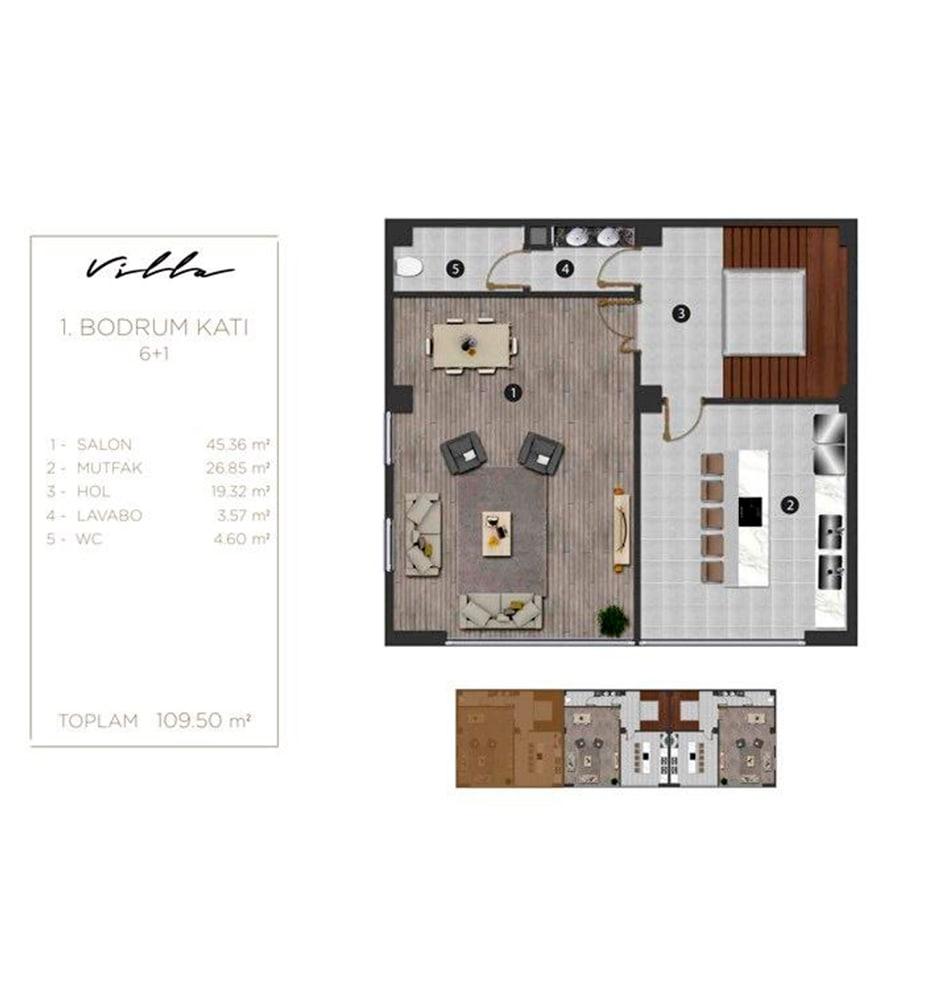 Terrace Yahyakaptan 6+1 Villa Kat Planları