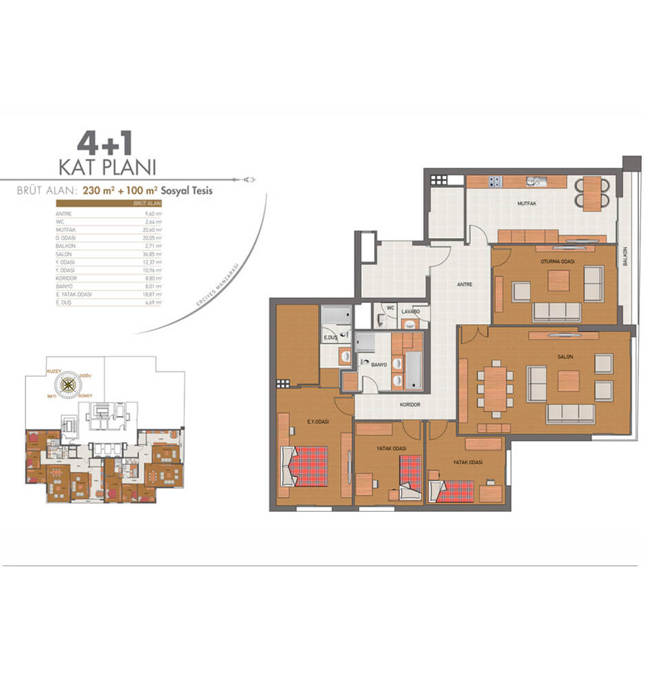 The Kar Suites 4+1 Kat Planları