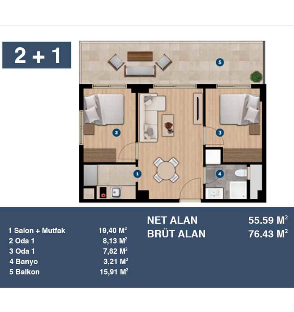Trademark Studio Bornova 2+1 Kat Planları