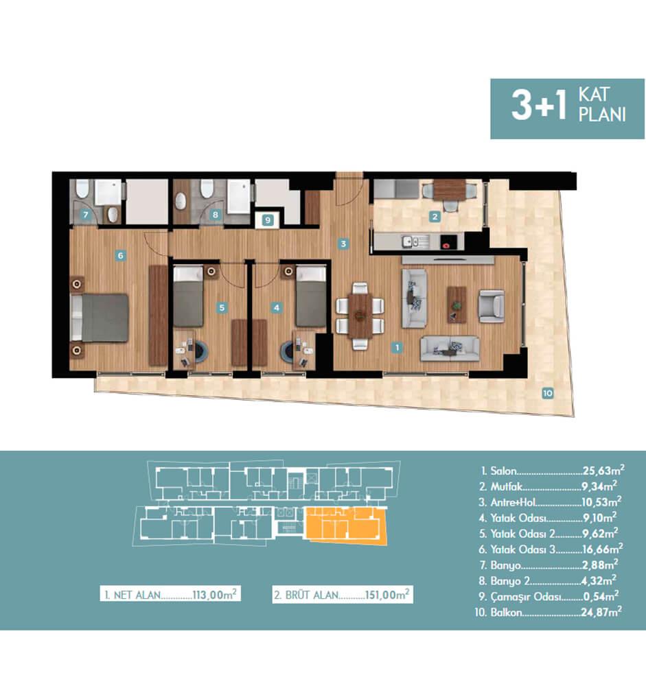 Trademark Tower Bornova 3+1 Kat Planları