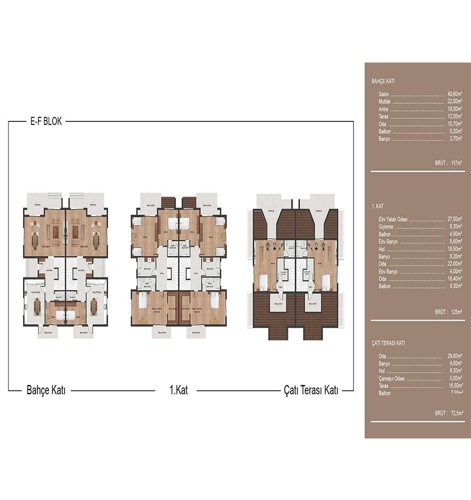 Casablanca Evleri Urla 5+1 Dubleks Kat Planları