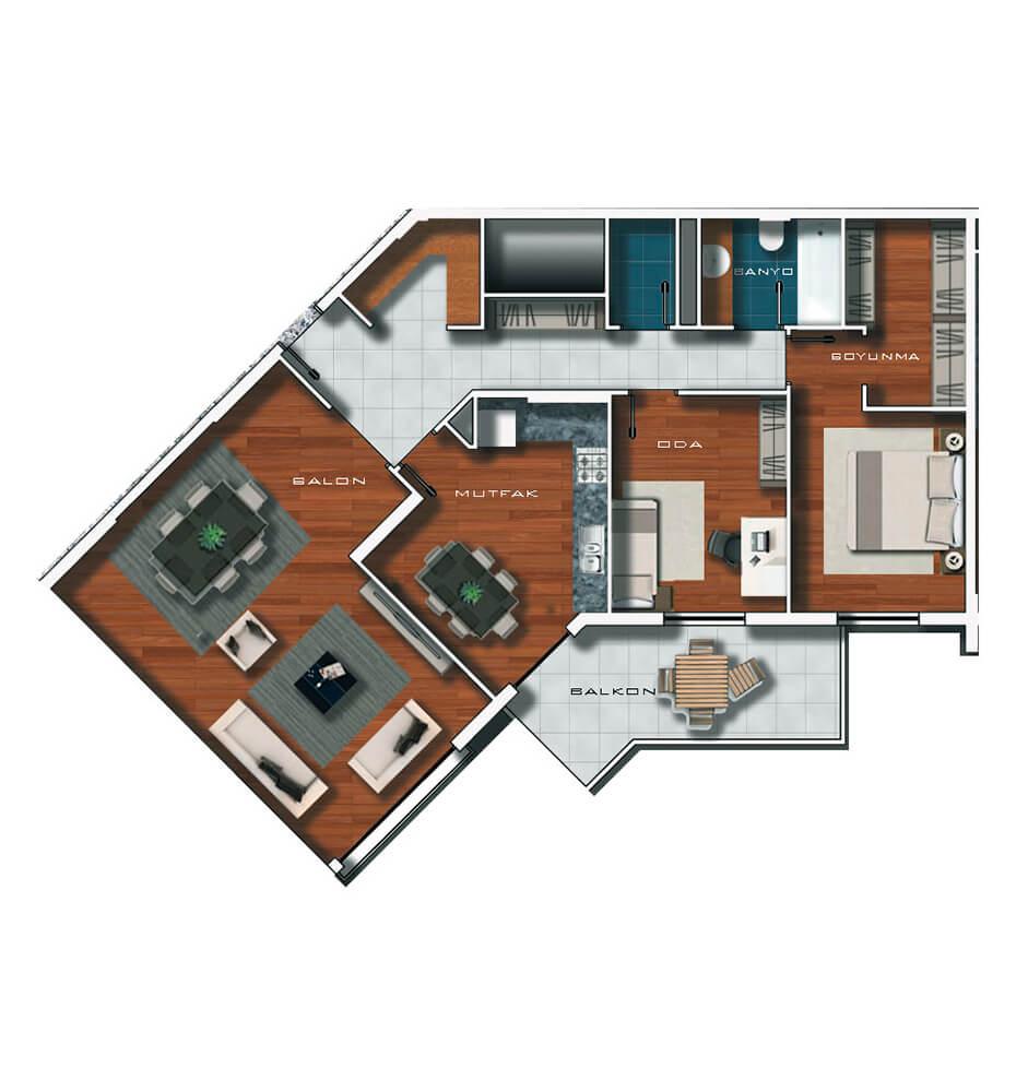 Vadi Ankara Evleri  2+1 Kat Planları