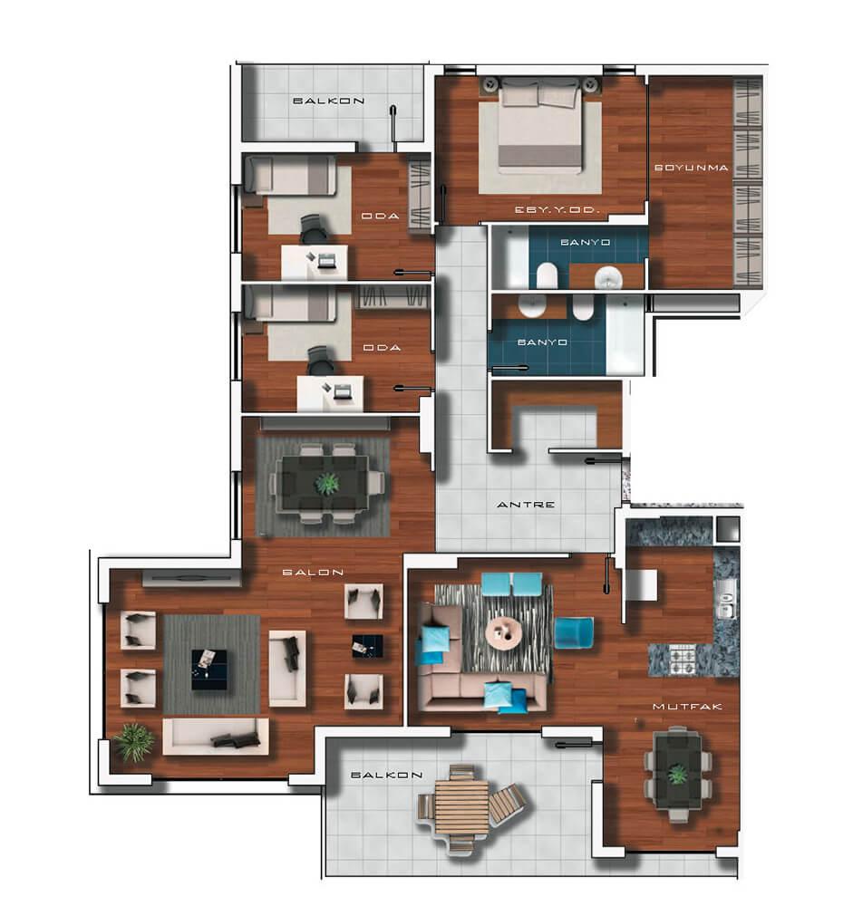 Vadi Ankara Evleri  4+1 Kat Planları