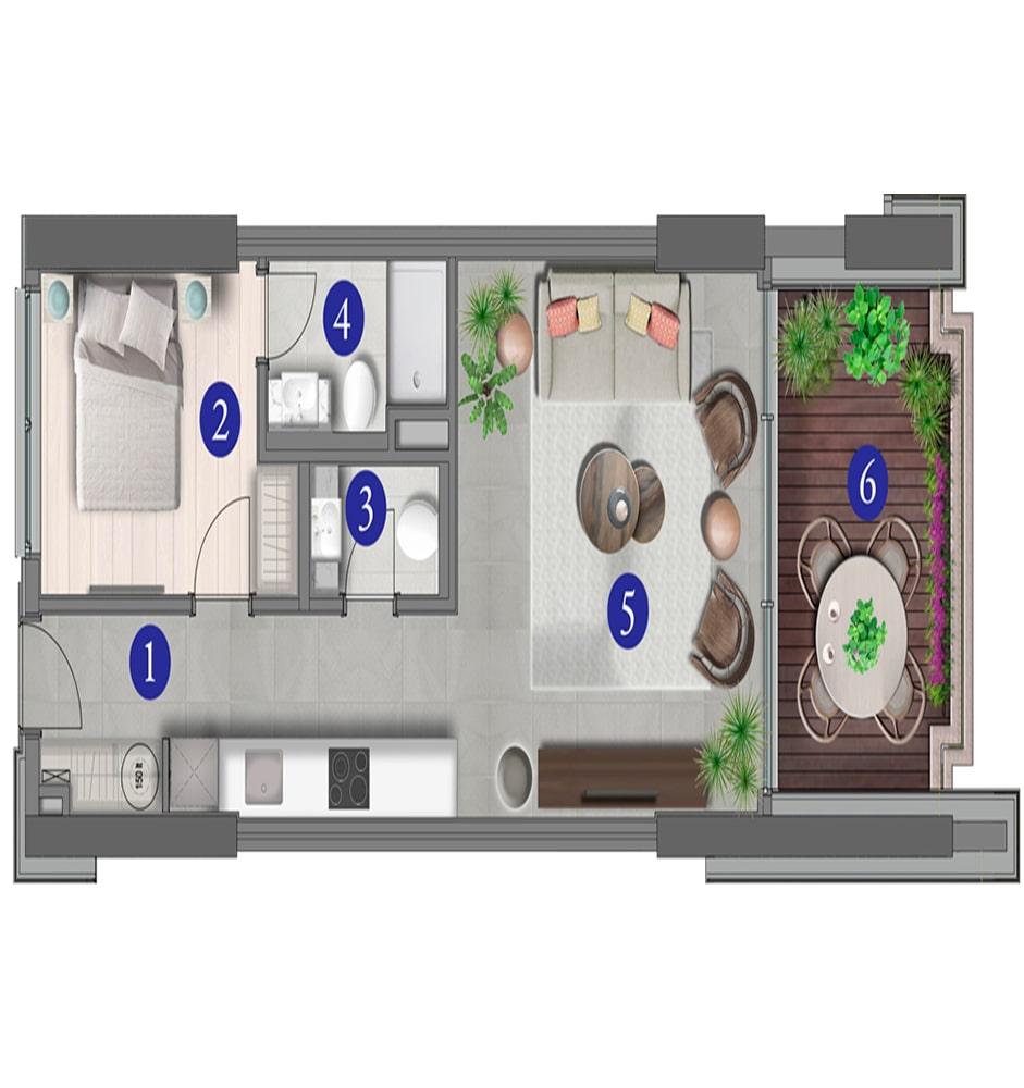 Varyap Yalıkavak Residences 1+1 Kat Planları
