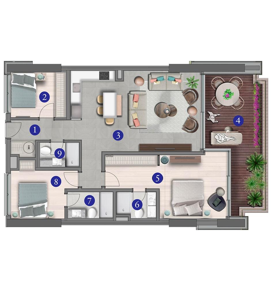 Varyap Yalıkavak Residences 3+1 Kat Planları