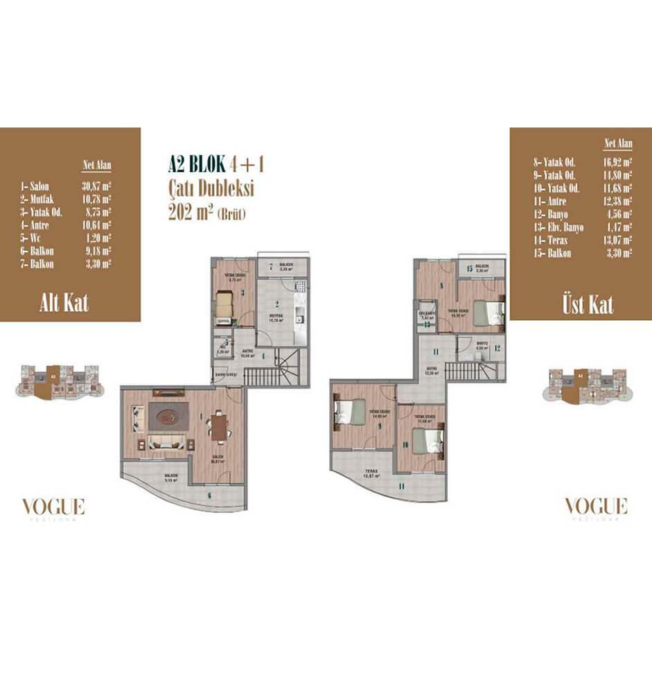 Vogue Yeşilova 4+1 Dublex  Kat Planları