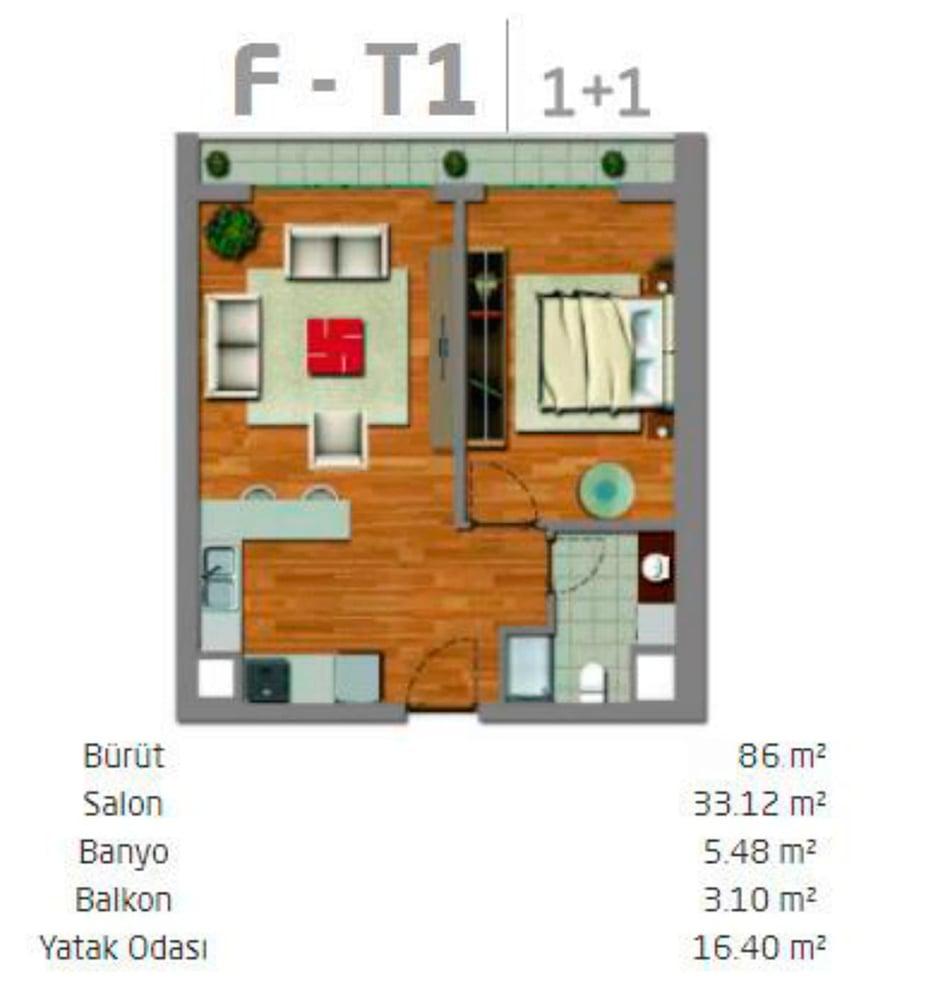 Yalçıntepe Residence 1+1  Kat Planları