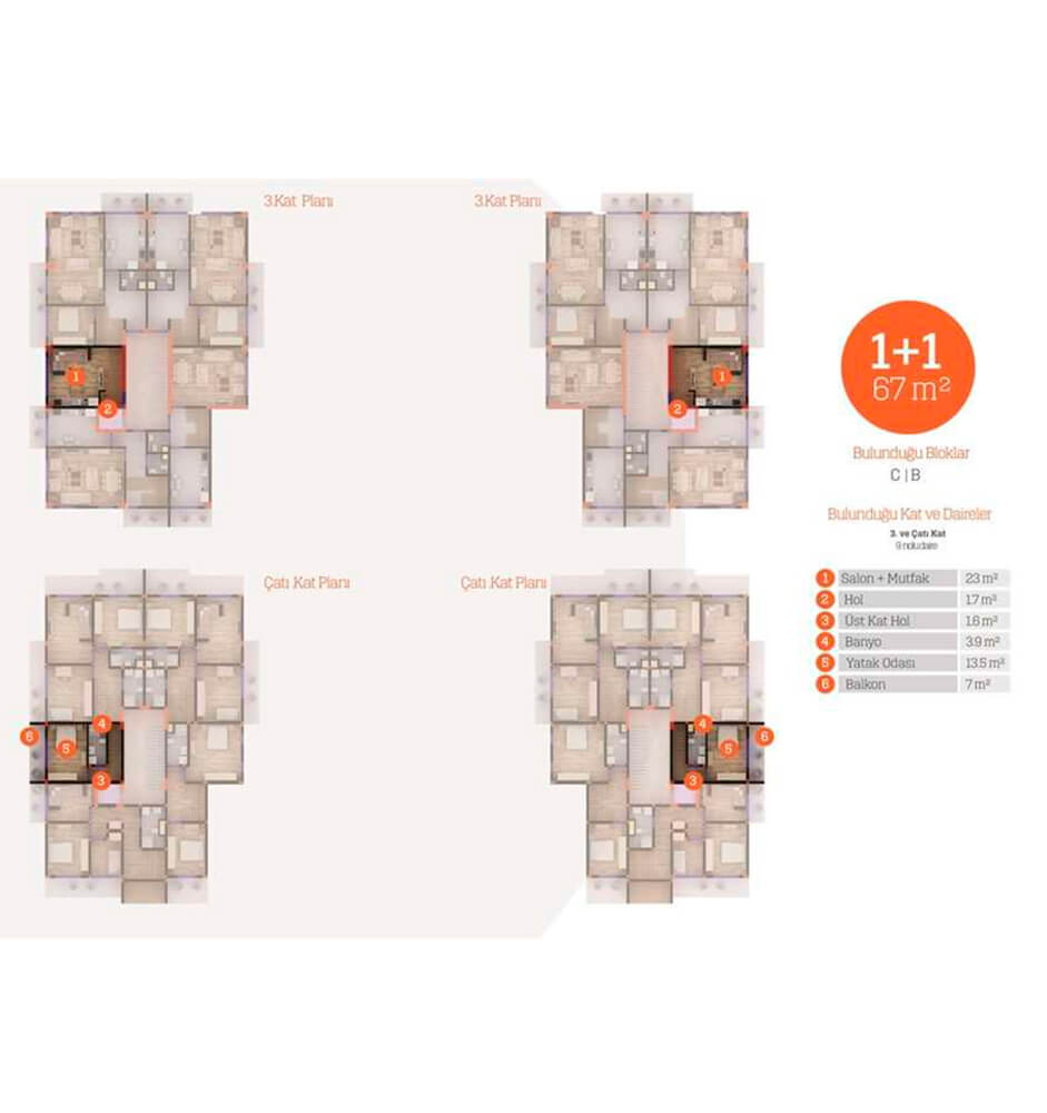 Yarımca Park Evleri  1+1  Kat Planları