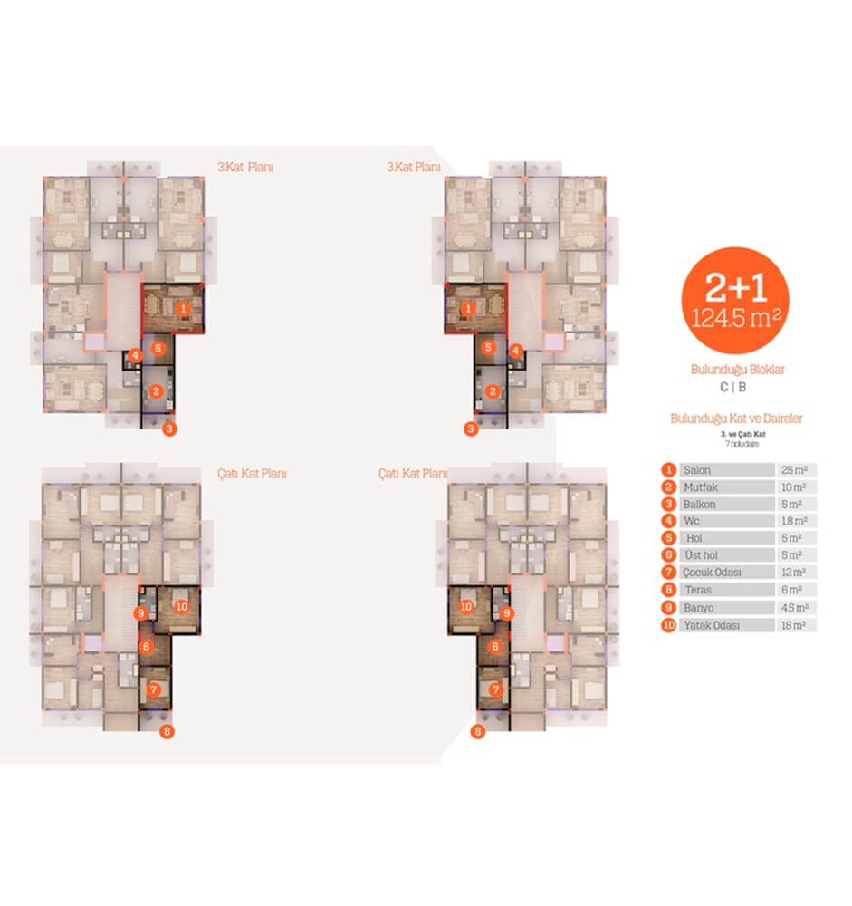 Yarımca Park Evleri  2+1 Kat Planları