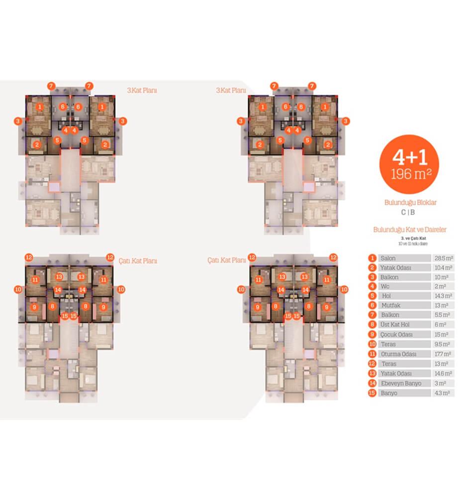 Yarımca Park Evleri  4+1 Kat Planları