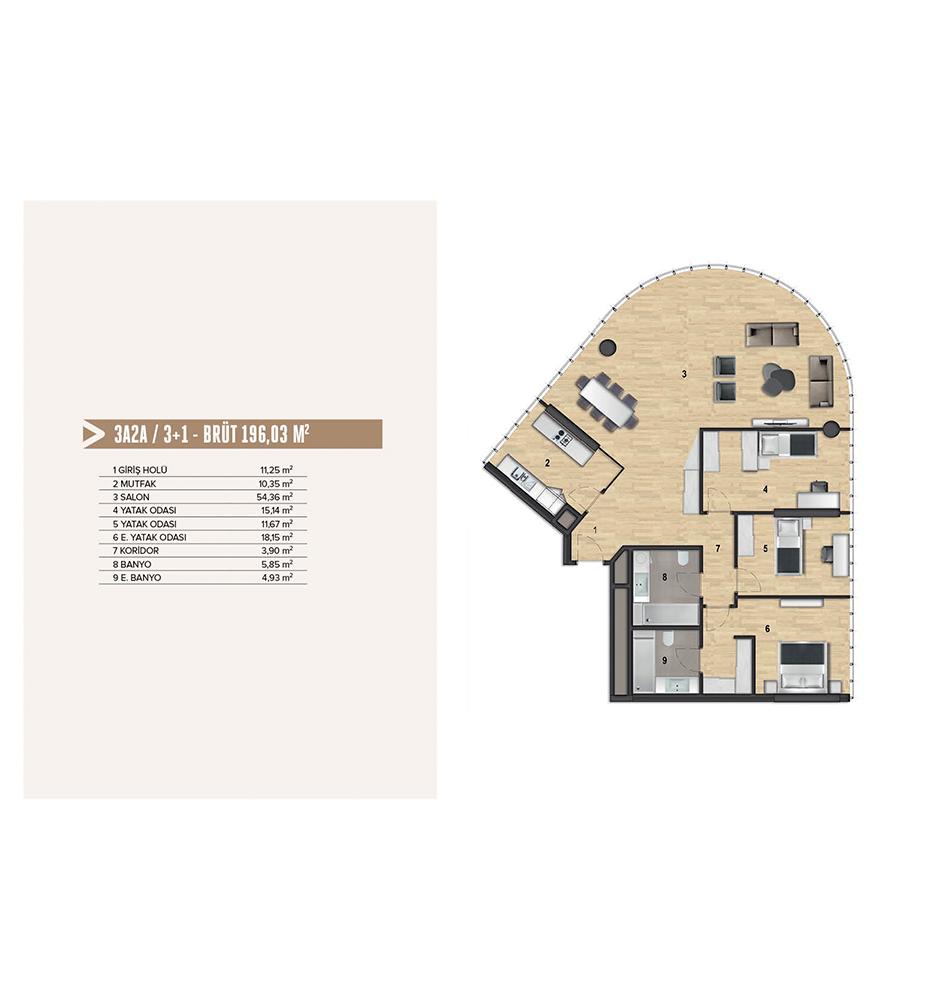 Yenitepe Kadıköy 3+1 Kat Planları
