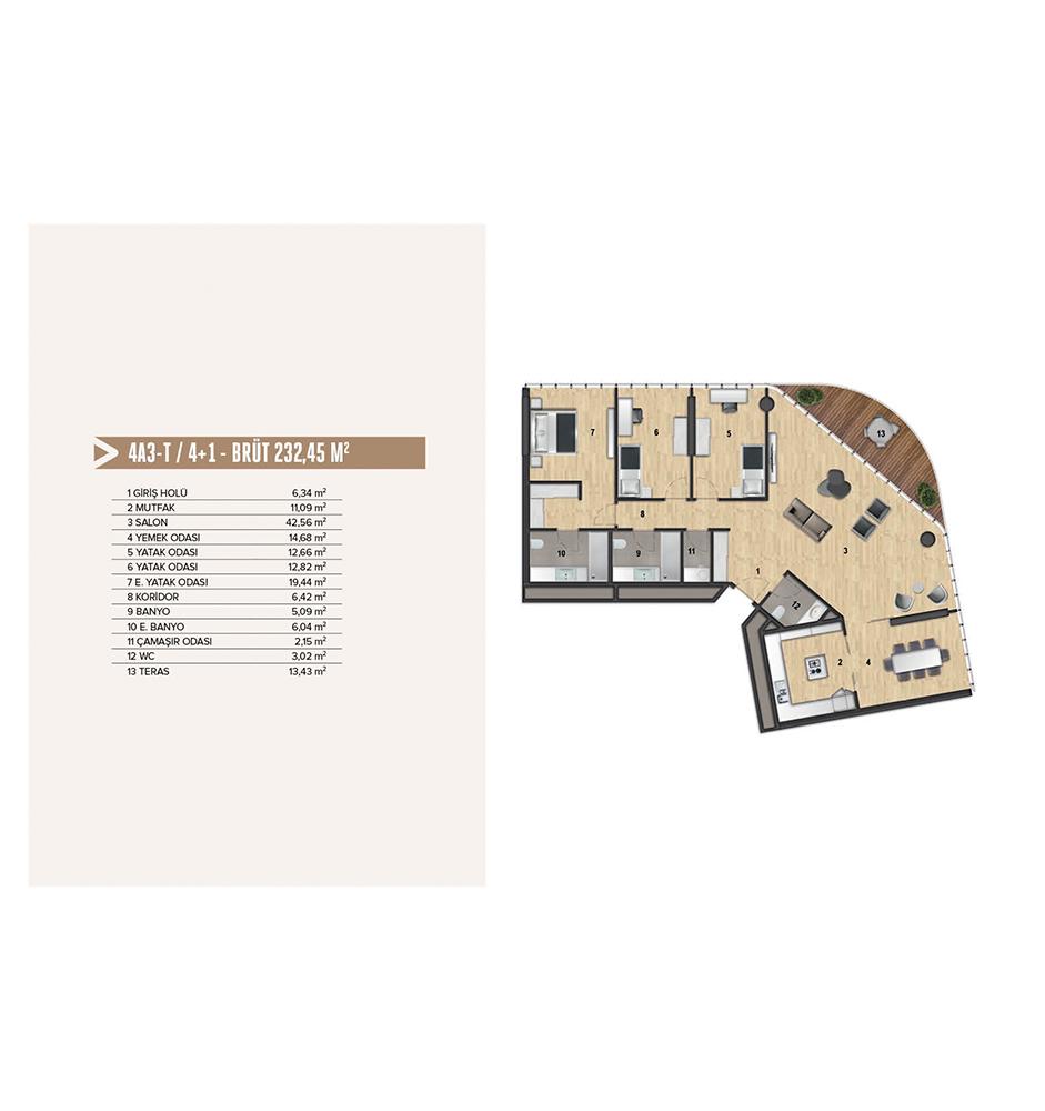 Yenitepe Kadıköy 4+1 Kat Planları