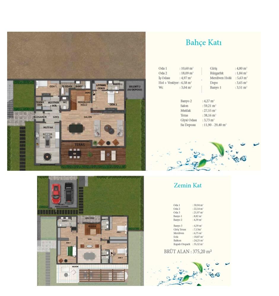 Yeşilyaka Su Villa Kat Planları