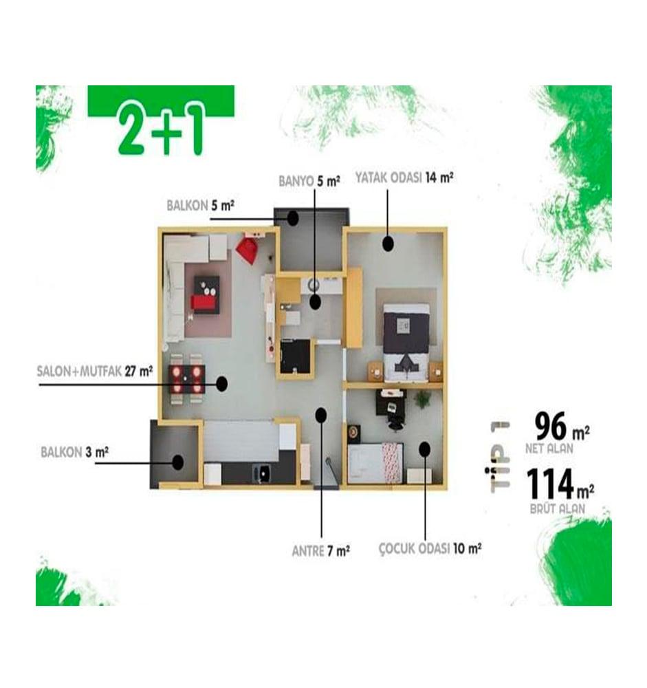 Yesshill Residence 2+1 Kat Planları