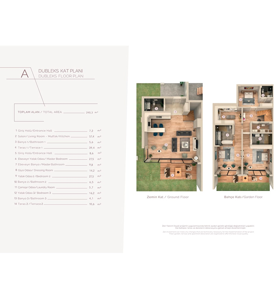 Zen Suites  4+1 Dublex  Kat Planları