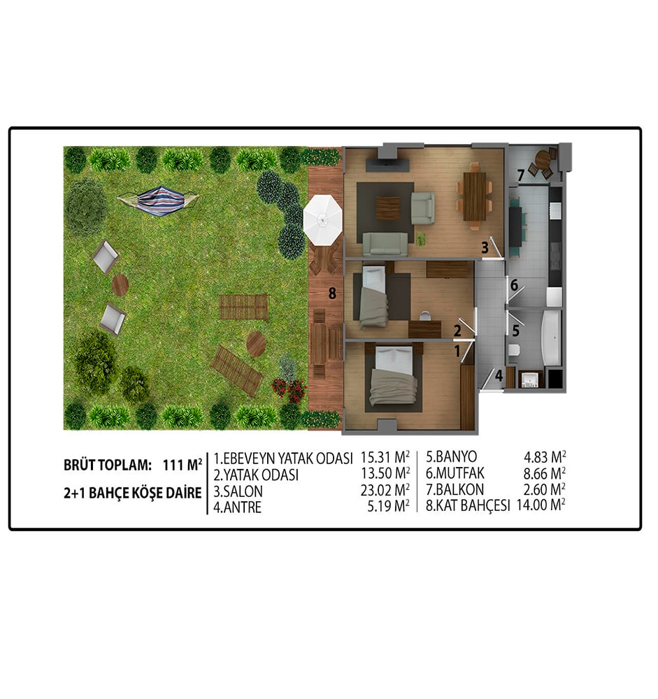 Zenar Nearport 2+1 Bahçe Kat Planları